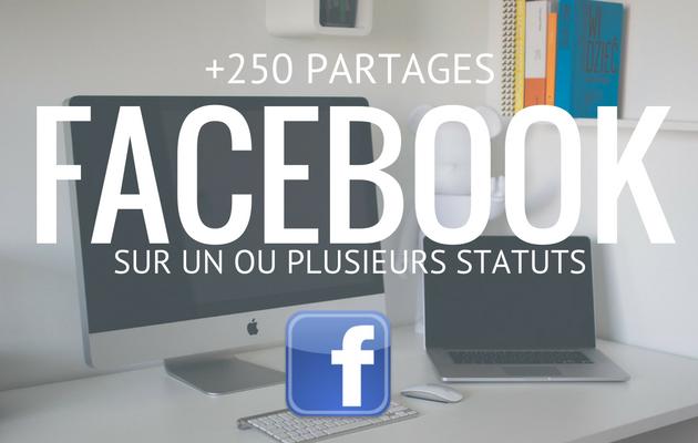 vous fournir 250 partages réels sur un de vos statut Facebook sur votre profil