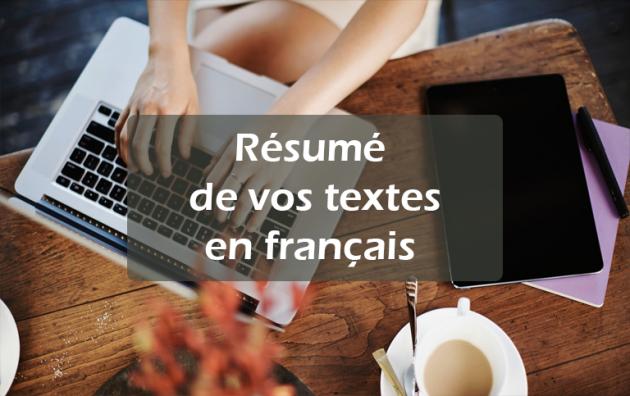 résumer votre texte (jusqu'à 4 pages) en français
