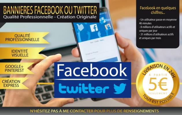 créer 2 bannières facebook ou twitter en 48 heures