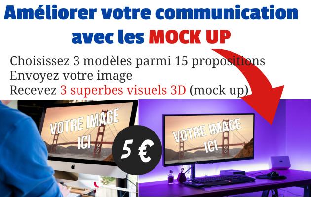 créer 3 visuel 3D (mock up) avec votre image