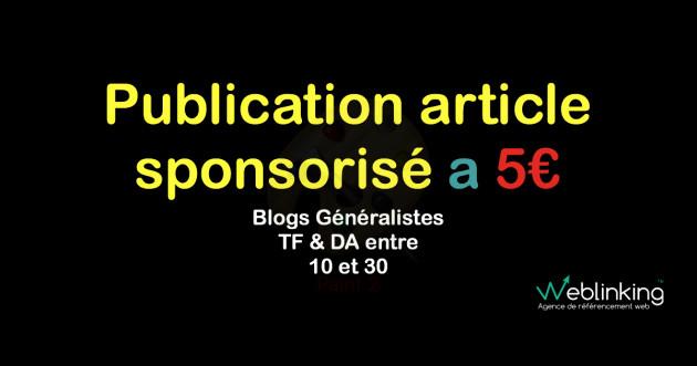 publier votre article sponsorisé dans l'un de mes 20 blogs