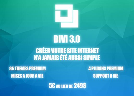 vous fournir le thème WORDPRESS premium Divi 3