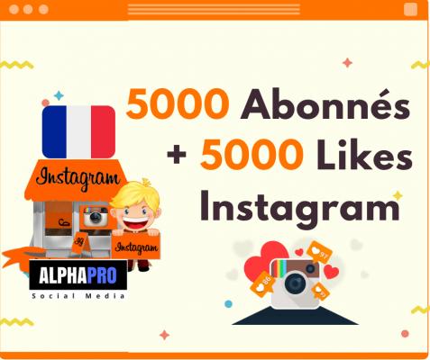vous permettre d'acheter 5000 Followers & Abonnés + 5000 Likes Réels sur instagram