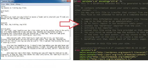 convertir 100 article de type (.txt) en xml article pour wordpress