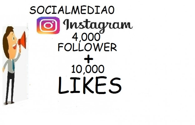 ajouter 4000followers+10.000 likes  sur Instagram