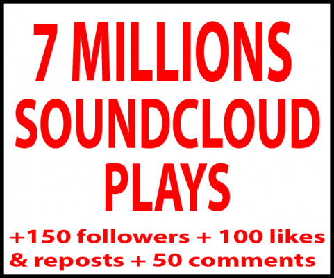 ajouter 7 millions écoutes+ 1000 Download+ 250 followers+ 100 likes+ 100 reposts++