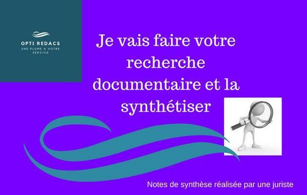 faire votre recherche documentaire et la synthétiser