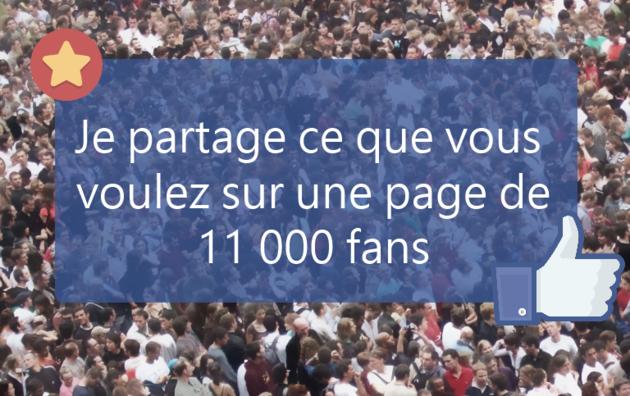 partager votre site ou vidéo sur une page de 11 000 abonnés