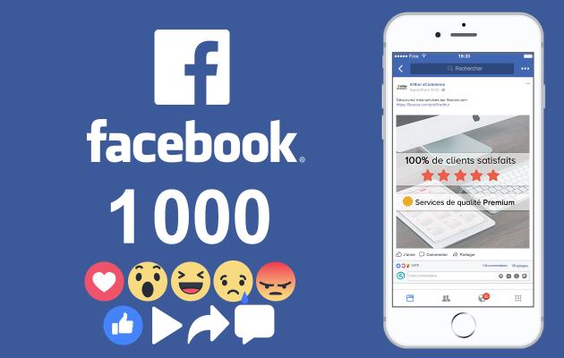 vous fournir 1 000 J'aime / Réactions / Commentaires / Vues Vidéo / Partages Facebook