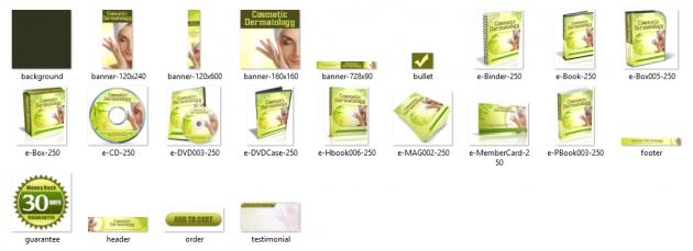 vous adresser un pack graphique entier sur le thème cosmétique dermathologie
