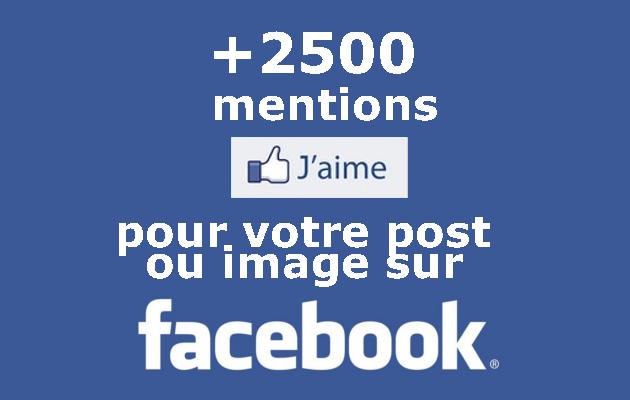 apporter 2500 LIKES à votre publication / image sur Facebook