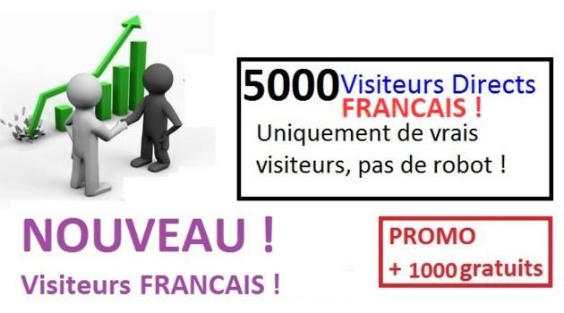 vous envoyer 5000 visiteurs 100% Francais + 1000 Gratuits