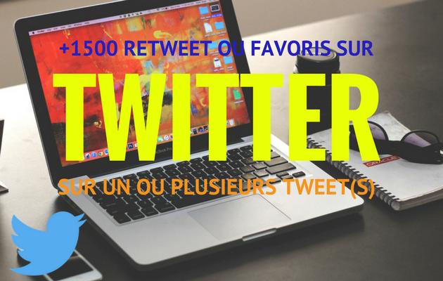 vous fournir 1500 Retweets ou Favoris réels sur un plusieurs statut(s) Twitter