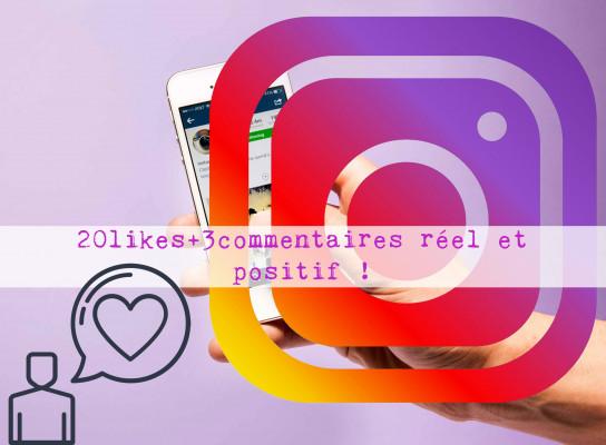 aimer 20 de vos photos instagram et laisser 3 commentaires