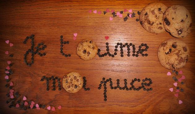 écrire votre message avec des cookies au chocolat