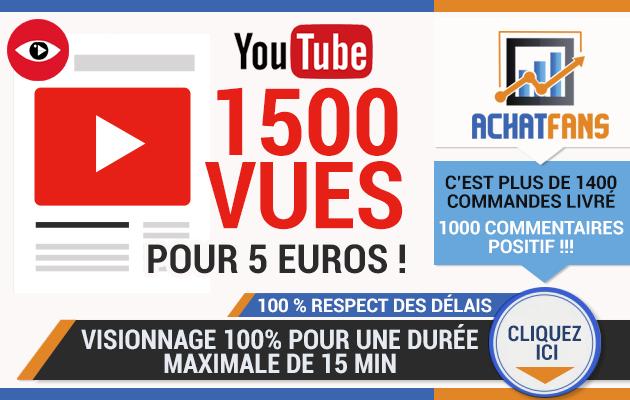 vous permettre d'acheter 1500 vues réels YouTube haute rétention