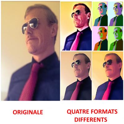 transformer jusqu'à 5 de vos photos en 4 formats