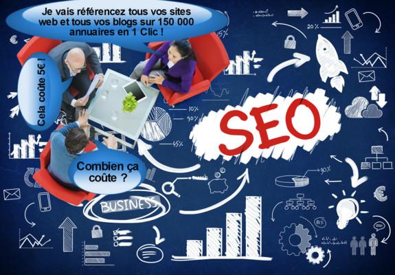 référencez tous vos sites web et tous vos blogs sur 150 000 annuaires en 1 Clic