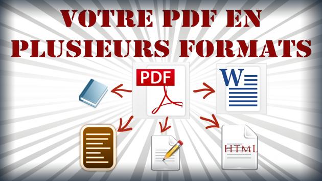 convertir votre PDF en fichier TXT, Word, HTML, Epub; Mobi