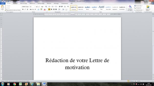 rédiger votre Lettre de motivation