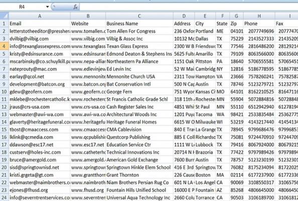 vous livrer 7 millions adresses e-mails d'entreprises aux Etats-Unis