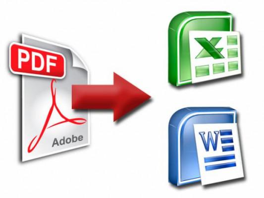 convertir 5 fichiers PDF en excel, doc, JPEG