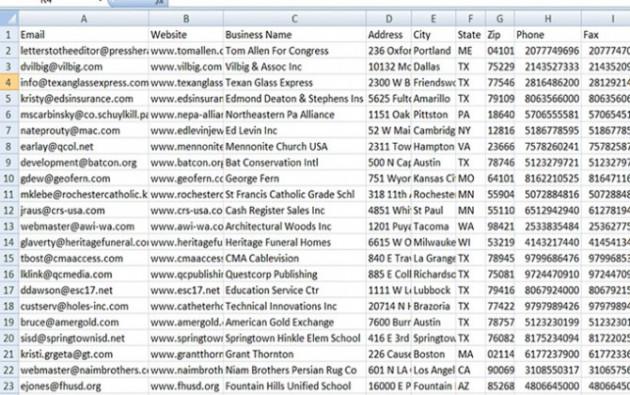 vous livrer 5 millions adresses e-mails d'entreprises aux Etats-Unis