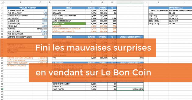 calculer vos coûts et bénéfices de vente sur Le Bon Coin