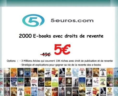 vous envoyer 2000 ebooks avec droits de revente