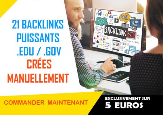 créer MANUELLEMENT 21 backlinks PUISSANTS .EDU / .GOV