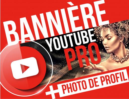 créer une bannière professionnelle  pour votre chaîne YouTube + photo de profile