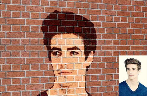 incruster votre portrait sur un mur en brique